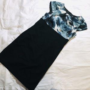 Ann Taylor Shift Dress - Blue/Black - 4 Petite
